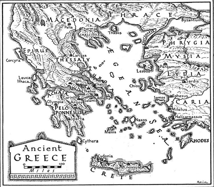 Senovinis vietovės, kurioje vėliau buvo įsikūrusi Graikija, žemėlapis