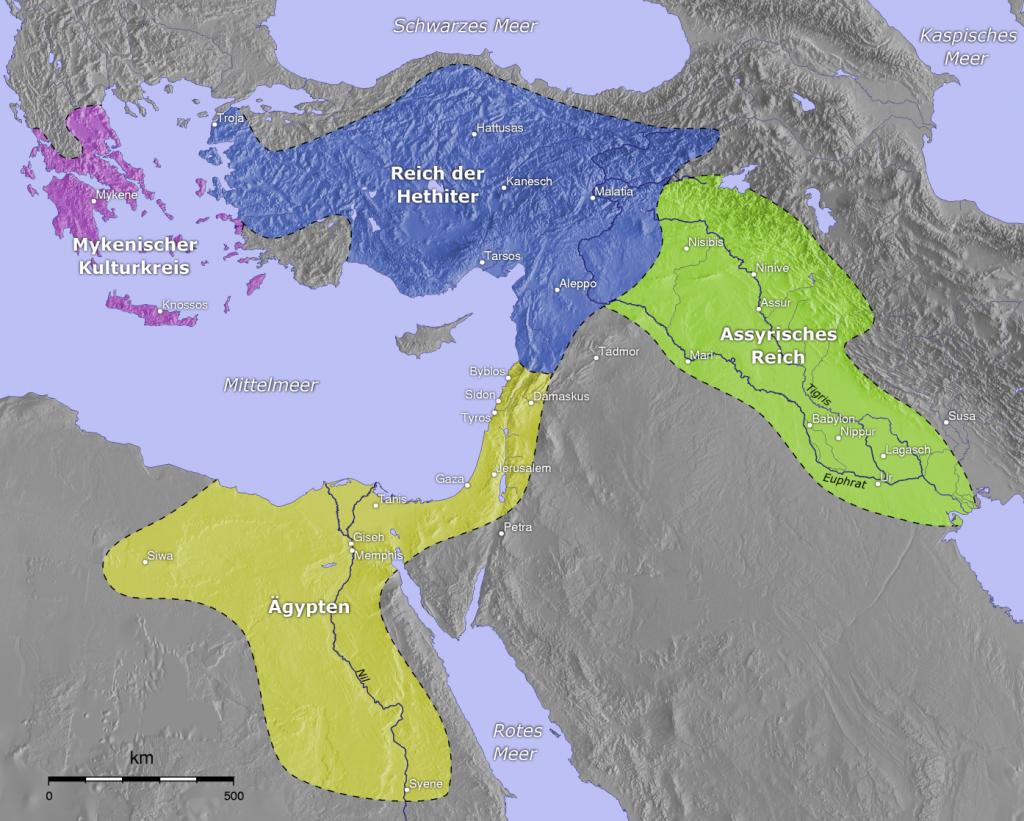 Getų karalystė mėlyna spalva, Graikų – violeti, Egiptas – geltonas, Asirija arba Babilonas – žalia. Žemėlapis iš wikipedijos. Karalystė gyvavo 1800 – 1180 metais prieš mūsų erą.