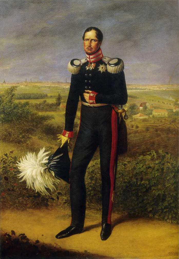 Prūsijos karalius Frydrichas Vilhelmas III.  Paveikslas iš https://de.wikipedia.org/wiki/Lampasse ant kelnių raudona juosta – lampasai.