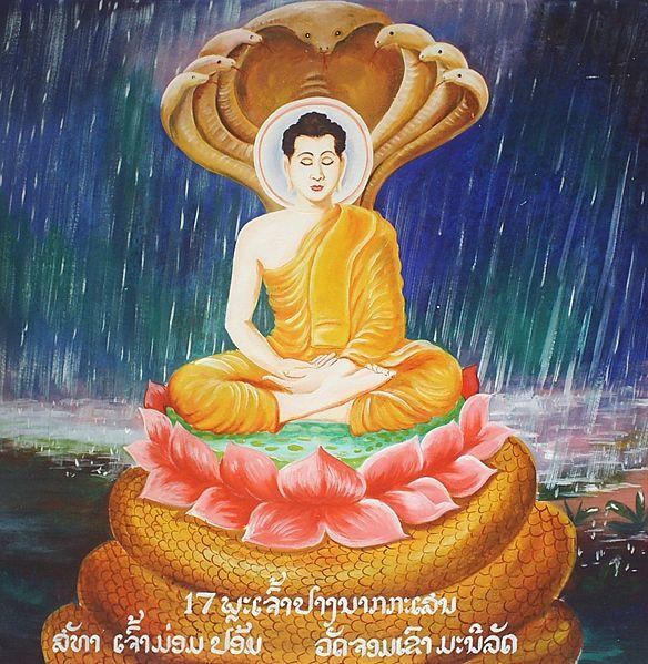 Buda gobtuvu apsuptas septyngalvio slibino nagos .