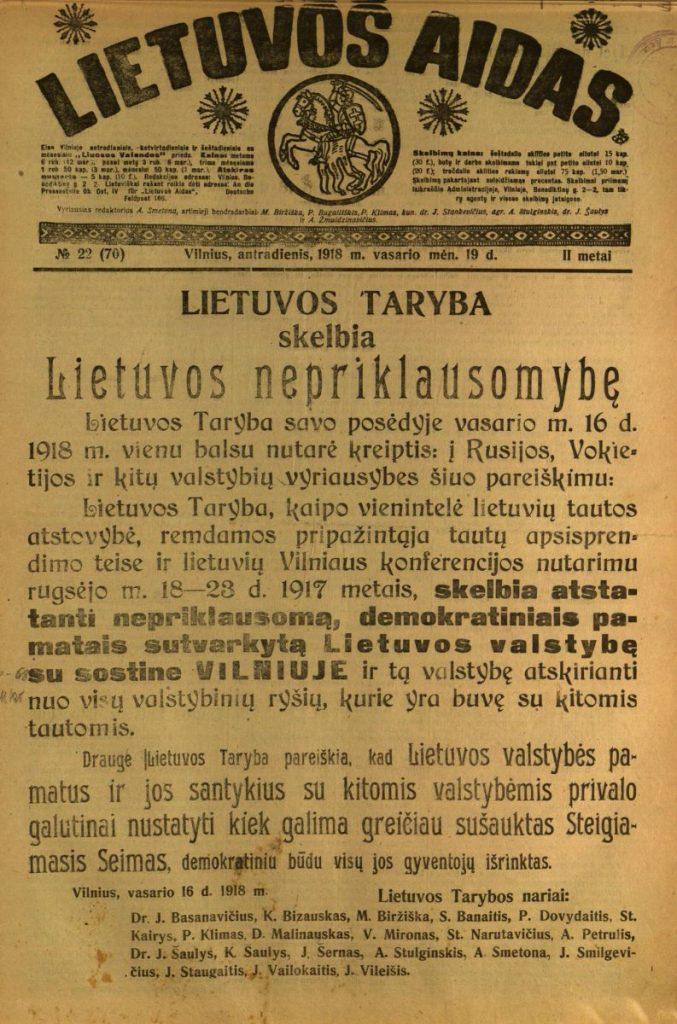 Nepriklausomybės akto paskelbimas laikraštyje